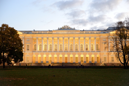 Mikhailovsky Palace or Russian Museum in St. Petersburg at evening, Russia. Editorial