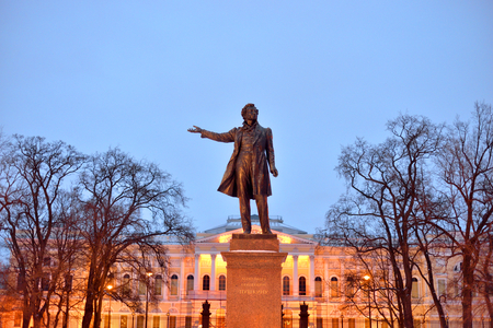 ST.PETERSBURG, RUSSIA - 24 FEBRUARY 2017: Statue of Alexander Pushkin, famous Russian poet. Arts Square in Saint Petersburg at evening.