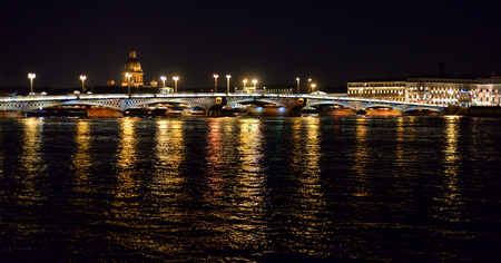Annunciation bridge and Neva River at night in St.Petersburg, Russia. Stock Photo
