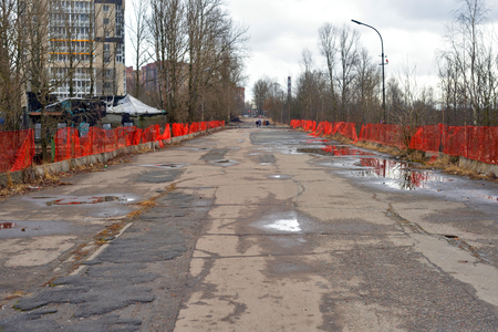 Fisherman's avenue in microdistrict Ribatskoe on the outskirts of St. Petersburg at early spring.