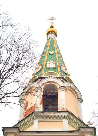 Bell tower in Orthodox Voskresensky Novodevichy Convent in St.Petersburg, Russia. Banco de Imagens