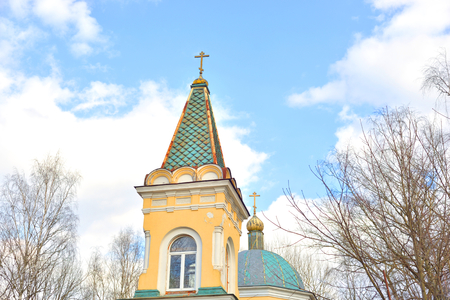 The Church of the icon of the Mother of God. Znamenskaya Church in microdistrict Ribatskoe on the outskirts of St. Petersburg, Russia. Stock Photo
