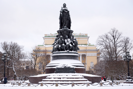 Monument to Catherine II - a monument on Ostrovsky Square in St. Petersburg, established in honor of Empress Catherine II in 1873, Russia. Editorial