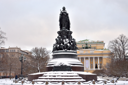 Monument to Catherine II - a monument on Ostrovsky Square in St. Petersburg, established in honor of Empress Catherine II in 1873, Russia. Stock Photo