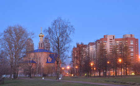 Park and Church of the Nativity of the Blessed Virgin Mary at evening in St.Petersburg, Russia.