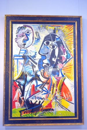 ST.PETERSBURG, RUSSIA - 6 MAY 2017: Art picture Pablo Picasso Big Heads in the Marble Palace, a branch of the Russian Museum.