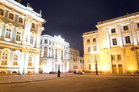 Hermitage on Palace Square in St.Petersburg at night, Russia. Stock Photo