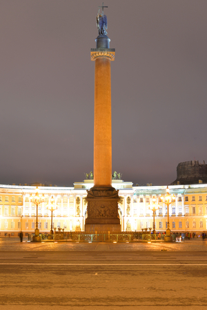 Alexander Column on Palace Square in St.Petersburg at night, Russia.