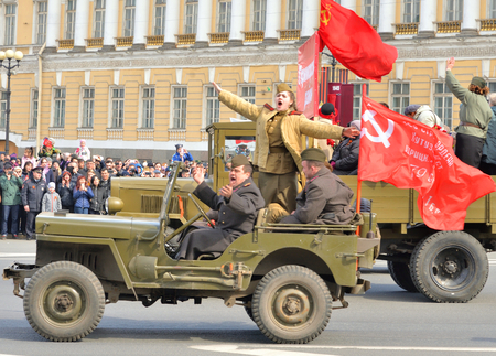 ST.PETERSBURG, RUSSIA: - MAY 9, 2017: Military vehicles from World War II on Victory parade. The celebration of 72 anniversary of Victory in the Great Patriotic War.