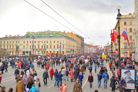 ST.PETERSBURG, RUSSIA: - MAY 9, 2017: Victory parade on Nevsky Prospect. The celebration of 72 anniversary of Victory in the Great Patriotic War. Editorial