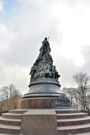 ST.PETERSBURG, RUSSIA: - MAY 9, 2017: Monument to Catherine II - a monument on Ostrovsky Square in St. Petersburg, established in honor of Empress Catherine II in 1873, Russia. Editorial