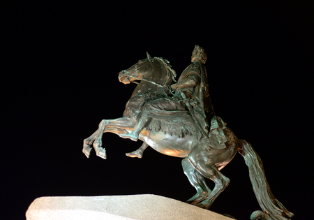 Bronze Horseman - monument to Peter I on the Senate Square in St. Petersburg at night, Russia. Editorial