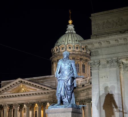 Colonnade of Kazanskiy Sobor and monument to general Barclay de Tolly in St. Petersburg by night, Russia. Stock Photo