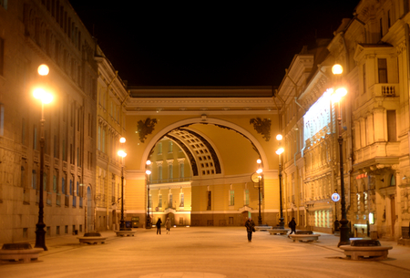 The General Staff building and Bolshaya Morskaya Street at night in St. Petersburg, Russia.