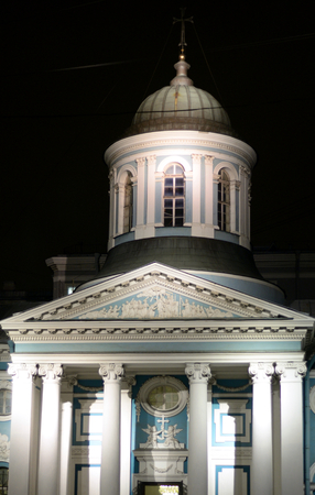 The Church of St. Catherine is the temple of the Armenian Apostolic Church in St. Petersburg at night, Russia.
