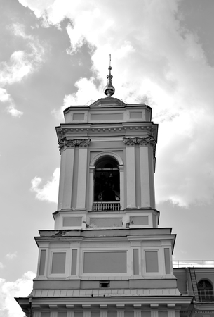 Trinity Cathedral of Alexander Nevsky Lavra, ancient monastery in in center of St.Petersburg, Russia. Black and white. Stock Photo