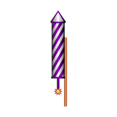 Fireworks rocket icon on white background. Vector illustration. Illustration