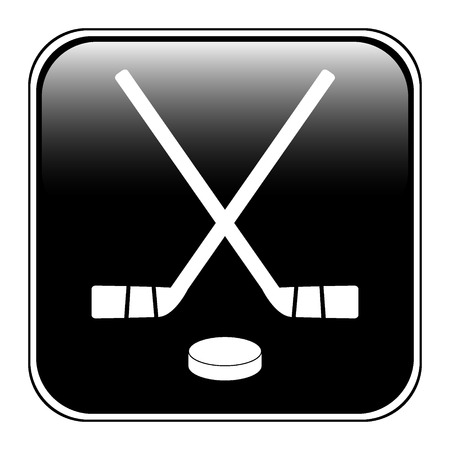 Two crossed hockey sticks and puck icon on white background vector illustration.