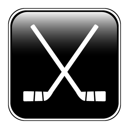 Two crossed hockey sticks icon on white background. Vector illustration. Illustration
