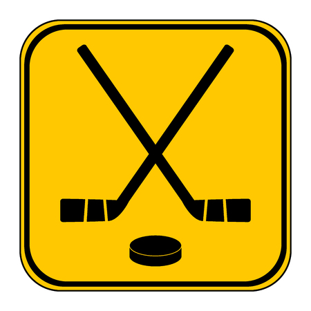 Two crossed hockey sticks and puck icon on white background.