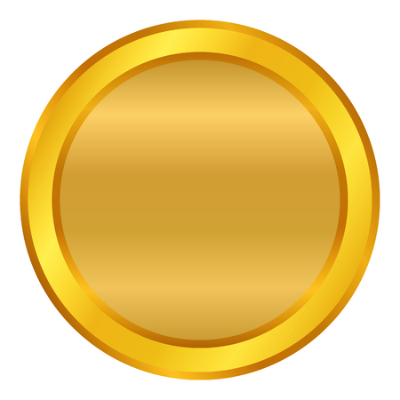 Golden empty button illustration on white background.