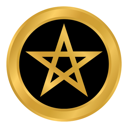 Pentagram button on white background. Vector illustration. Illustration