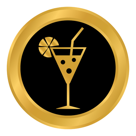 Cocktail glass button on white background. Vector illustration.