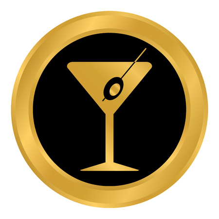 Martini glass button on white background. Vector illustration.