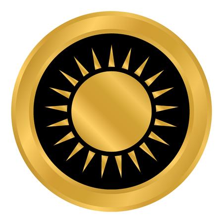 Sun button on white background. Vector illustration.