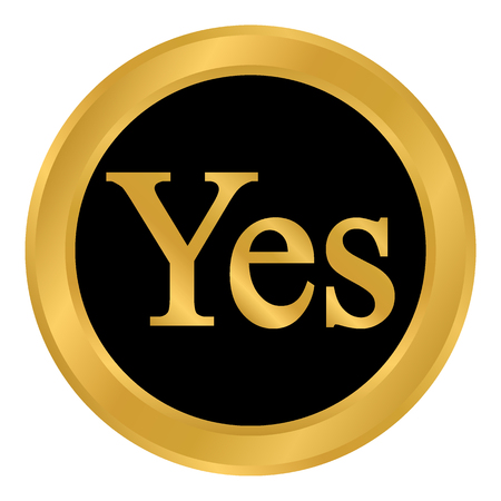 Yes button on white background. Vector illustration.