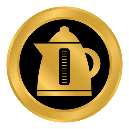 Electric kettle button on white background. Vector illustration.  イラスト・ベクター素材