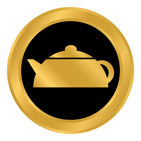 Kettle button on white background. Vector illustration. Иллюстрация