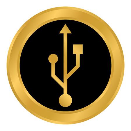 Usb flash button on white background. Vector illustration.