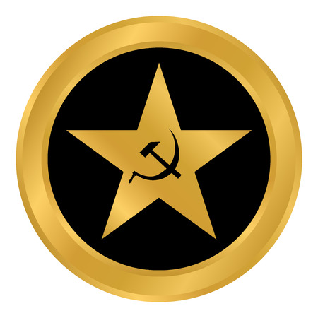 Communism star button on white background. Vector illustration. Stock Vector - 98029581
