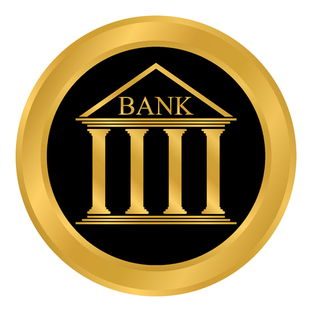Bank button on white background vector illustration.