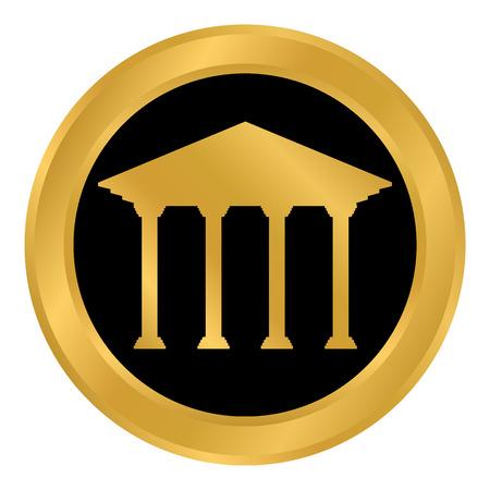 Bank button on white background. Illustration