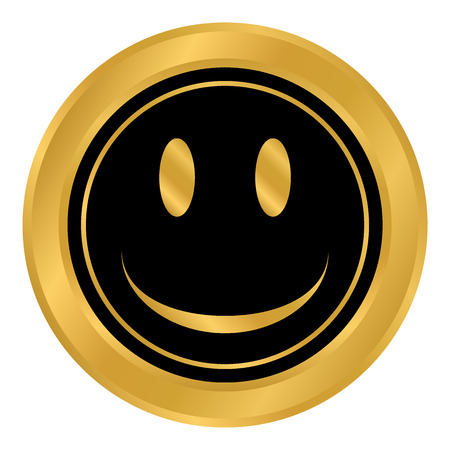 Smile face circle button on white background. Vector illustration.