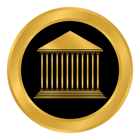 Greek architecture with stairs and twelve pillars in gold for bank button on white background. Illustration