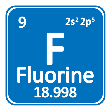 Periodic table element fluorine icon on white background. Vector illustration.