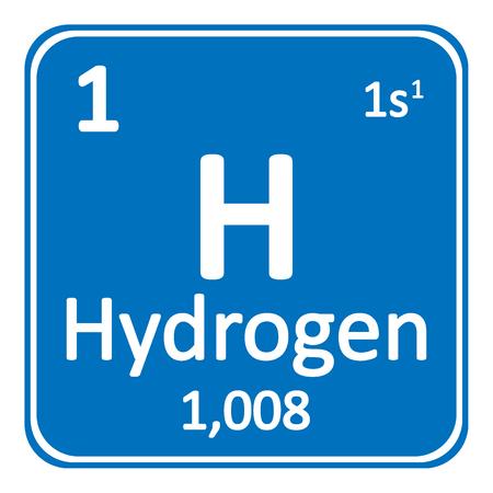 Periodic table element hydrogen icon on white background. Vector illustration. Banco de Imagens - 98289109