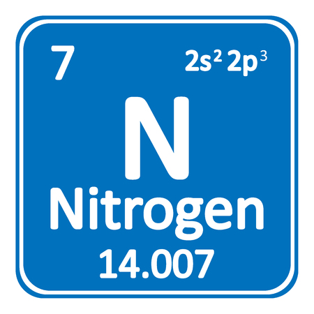 Periodic table element nitrogen icon on white background. Vector illustration. Ilustração