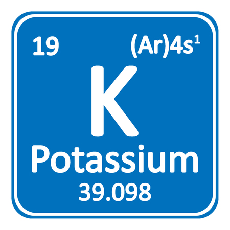 Periodic table element potassium icon on white background Vector illustration.