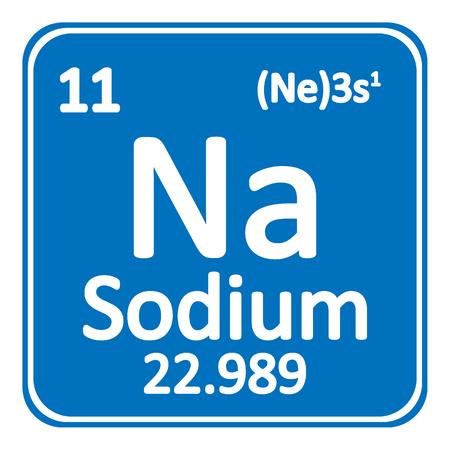 Periodic table element sodium icon on white background. Vector illustration. Vettoriali