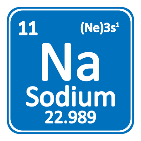 Periodic table element sodium icon on white background. Vector illustration. Stock Illustratie