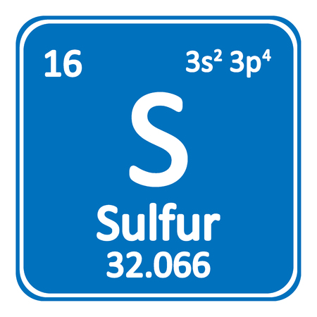 Periodic Table Element Sulfur Icon On White Background Vector