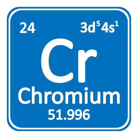 Periodic table element chromium icon on white background. Vector illustration. Çizim