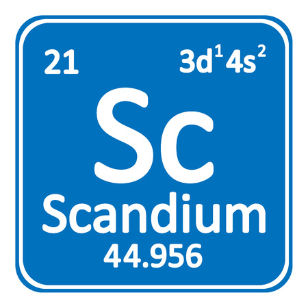 Periodic table element scandium icon on white background. Vector illustration.