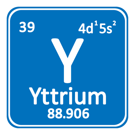 Periodic Table Element Yttrium Icon On White Background Vector