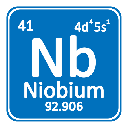 Periodic table element niobium icon on white background. Vector illustration.