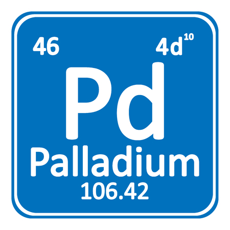 Periodic table element palladium icon on white background. Vector illustration. Ilustração